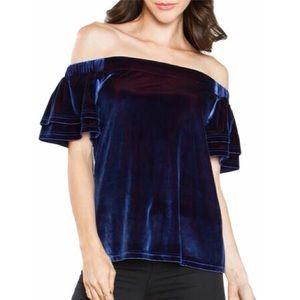 One Clothing Velvet Off Shoulder Top